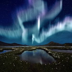 An example of the Northern Lights. The lack of colour is due to the gases in the earths atmosphere not being ignited by the suns flare that is responsible for the phenomenon.